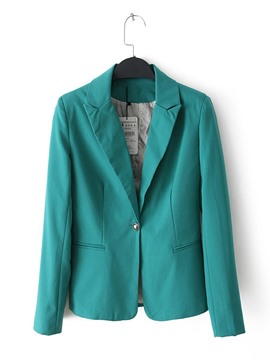 Button Pocket Notched Lapel Slim Women's Blazer