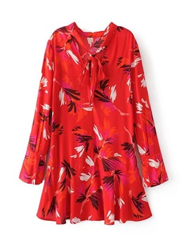 Ericdress Red Print Tie Neck Long Sleeve Women's Day Dress