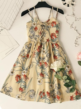 Ericdress Floral Print Double Spaghetti Strap Lace-Up Women's Day Dress