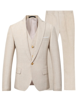 Ericdress Plain One Button Blazer Pants Vest Men's Suit