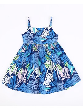 Ericdress Spaghetti Strap Print Baby Girl's Cotton Sleeveless Dress