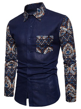 Ericdress Print Patchwork Men's Shirt