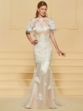 Ericdress Appliques Mermaid Wedding Dress with Cap
