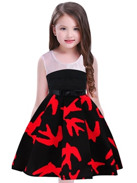 Ericdress A-Line Print Girl's Sleeveless Cotton Ball Dress