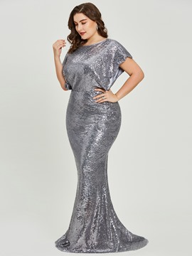 Evening Dress Short Sleeves Sequins Mermaid Plus Size