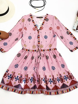 Ericdress Bohemian Print Lace-Up Women's Day Dress