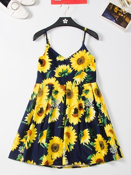 Ericdress Spaghetti Strap Sunflower Print Women's Day Dress