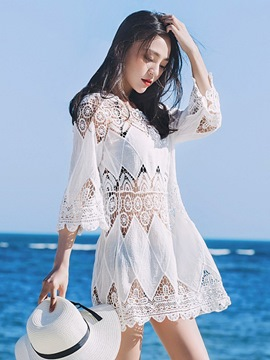Ericdress Hollow Lace 3/4 Length Sleeves Beachwear