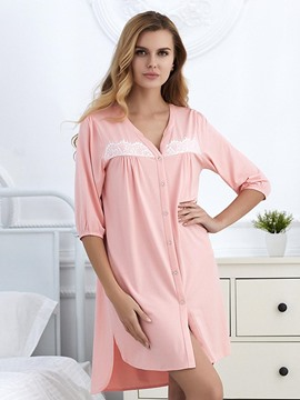 Ericdress V-Neck Single-Breasted Single Nightgown