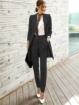 Ericdress Plain Pants Belt V-Neck Straight Two Piece Sets