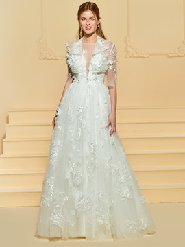 Ericdress A Line Appliques Wedding Dress with Jacket
