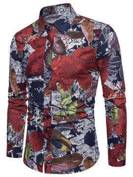 Ericdress Lapel Flower Print Color Block Long Sleeve Men's Shirt