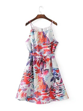 Ericdress Print Sleeveless A Line Hem Women's Party Dress