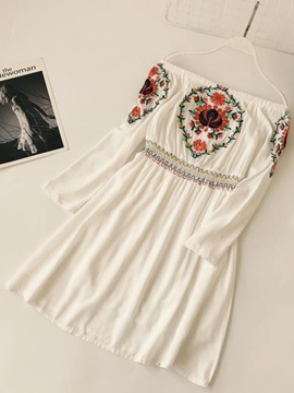 Ericdress Slash Neck Ethnic Embroidery Women's Day Dress