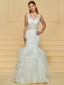 Ericdress Tiered Beading Mermaid Appliques Wedding Dress
