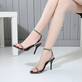 Ericdress Rhinestone Plain Open Toe Stiletto Sandals