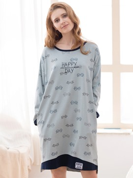 Ericdress Long Sleeve Letter Knee-Length Nightgown