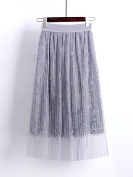 Ericdress Lace Pleated Mid-Calf Women's Skirt