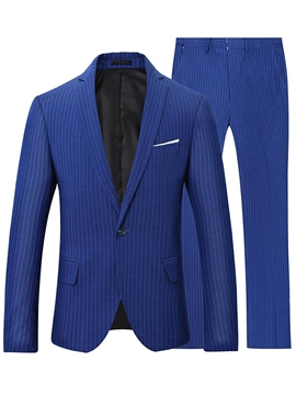 Ericdress Men's Stripe One Button Blazer Pants Suit