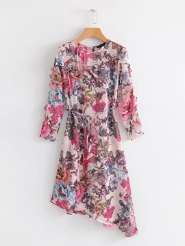 Ericdress Round Neck Floral Print Women's Day Dress
