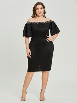 ericdress Mantel off-the-shoulder Perlen Cocktailkleid kurz