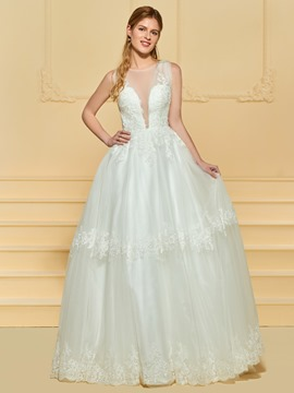 Ericdress Illusion Neckline Button Appliques Wedding Dress
