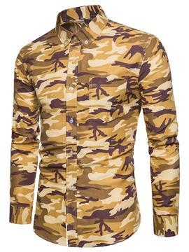 Ericdress Camouflage Men's Lapel Slim Fit Shirt