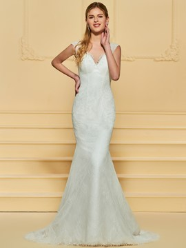 Ericdress V-Neck Lace Mermaid Wedding Dress