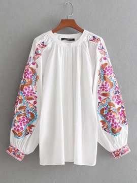 Ericdress Single-Breasted Floral Print Scoop Blouse