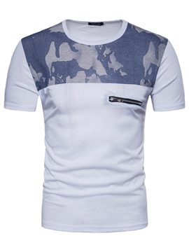 Ericdress Camouflage Color Block Slim Mens Summer T Shirts