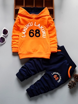 Ericdress Patchwork Letter Number Printed Baby Boy's Outfits Hoodie Pants