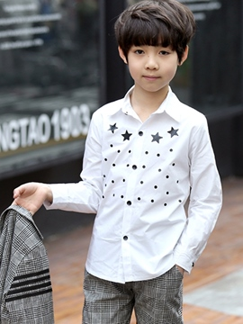 Ericdress Plain Geometric Print Lapel Boy's Cotton Long Sleeve Shirt