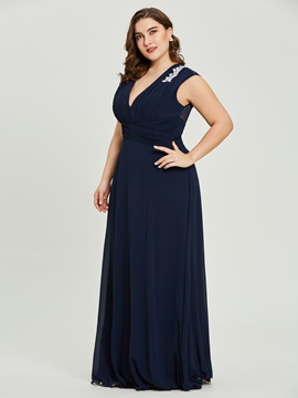 Ericdress V Neck Appliques Pleats A Line Plus Size Evening Dress