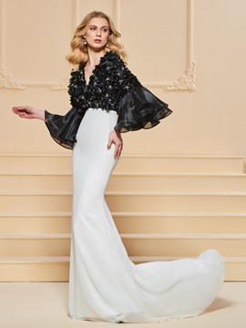 Ericdress 3/4 Sleeve V Neck Black And White Mermaid Evening Dress