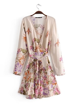 Ericdress Floral Print V Neck Wome's Day Dress