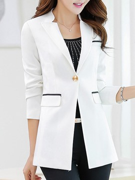 Ericdress Slim Plain One Button Mid-Length Blazer