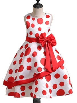 Ericdress Polka Dots Bowknot Girl's Sleeveless Princess Dress