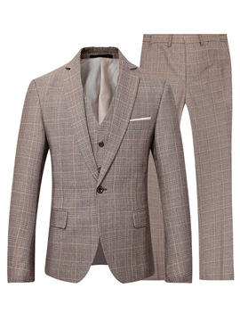 Ericdress Blazer One Button Plaid Men's Dress Suit
