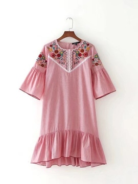 Ericdress Pink Floral Embroisdery Women's Day Dress
