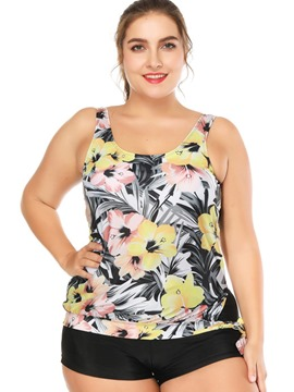 Ericdress Plus Size Floral Boyshorts Tankini Bathing Suits