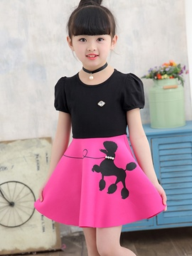 Ericdress Animal Print Beads Girl's Puff Sleeve Cotton Dress