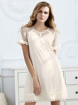 Ericdress Modal Pullover Plain Lace Nightgown