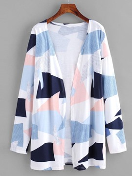 Ericdress Print Color Block Mid-Length Long Sleeve Trench Coat