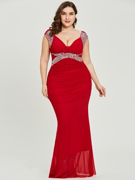 Ericdress V Neck Plus Size Sheath Red Sexy Evening Dress
