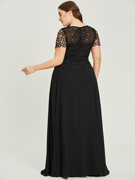 Ericdress Plus Size Scoop Neck Short Sleeves A Line Evening Dress