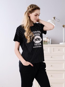 Ericdress Letter Stripe Pullover Cotton Loungewear