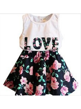 Ericdress Letter Floral Printed Girl's 2 Piece Sleeveless Vest Skirt Dress