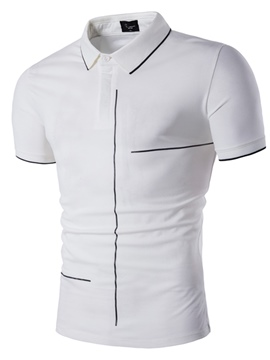 Ericdress Plain Men's Polo Neck Short Sleeve T Shirt