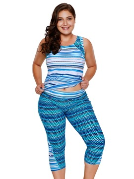 Ericdress Plus Size Stripe Pants 2-Pcs Tankini Suits