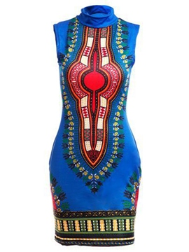 Ericdress High Neck Dashiki Ethnic Print Women's Bodycon Dress
